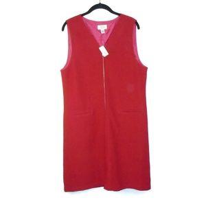 Talbots NWT Wool Red Full Zip Shift Dress Sz 10